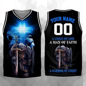 A child of god A man of faith A warrior of Christ personalized basketball jersey tank top