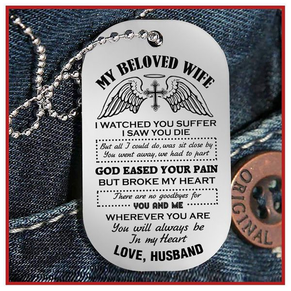 My beloved wife love husband necklace dog tag