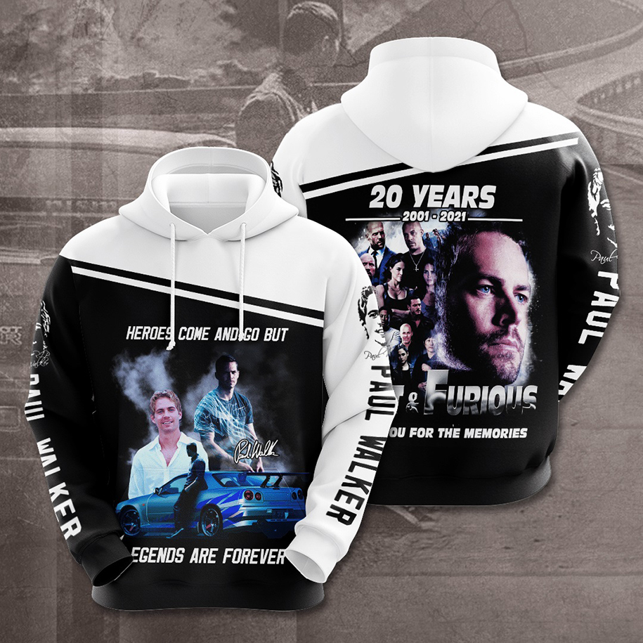 Paul Walker Heroes come and go but legends are forever 3d hoodie - Picture 3