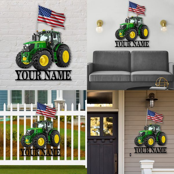 Personalized name American Flag Green Tractor Shaped Metal Sign