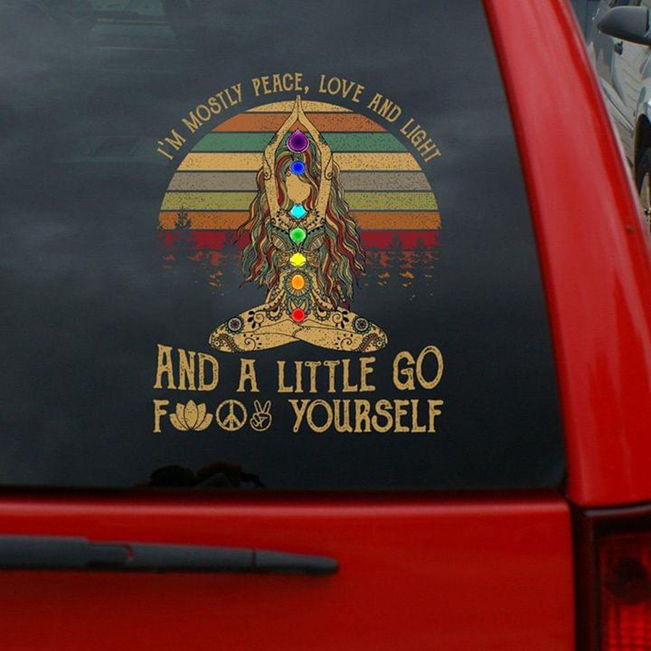 Yoga I'm mostly peace love and light and little go fuck yourself decal sticker - Picture 3
